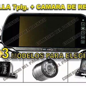 Monitor Tipo Espejo Retrovisor Pantalla 7 C/ Camara Reversa B1