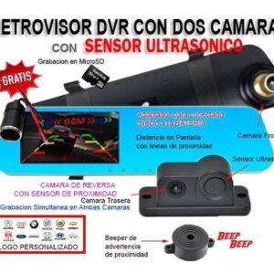 Retrovisor Dvr Pantalla 4.3, 2 Camaras, Sensores Reversa B1