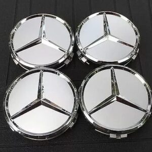 4x Centro Tapon Rin Mercedes Benz 75mm Plata
