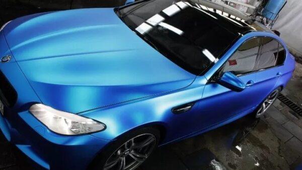 Vinil Automotriz Azul Mate Cromo Sin Burbujas Autoelite B1
